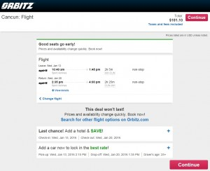 Houston to Cancun: Orbitz Booking Page