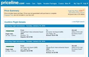 Houston to Las Vegas: Priceline Booking Page