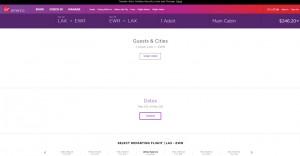 LA to NYC: Virgin America Booking Page