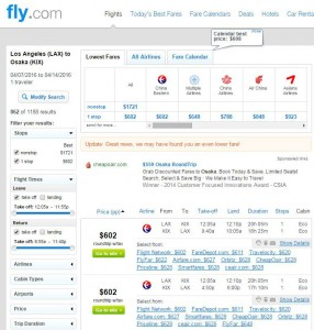Los Angeles-Osaka: Fly.com Search Results