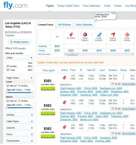 Los Angeles-Tokyo: Fly.com Search Results