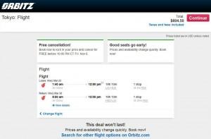 Los Angeles-Tokyo: Orbitz Booking Page