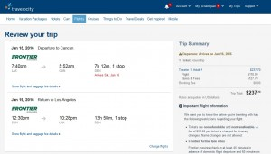 Los Angeles to Cancun: Travelocity Booking Page