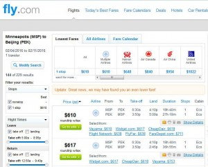 Minneapolis-Beijing: Fly.com Search Results