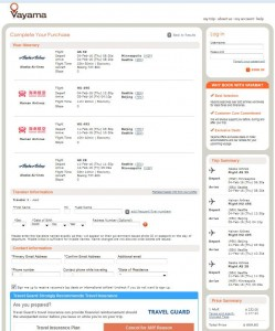 Minneapolis-Beijing: Vayama Booking Page