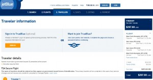 NYC to San Juan: JetBlue Booking Page
