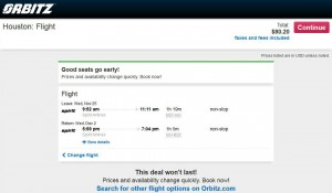 New Orleans-Houston: Orbitz Booking Page