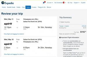 Philadelphia-Dallas: Expedia Booking Page