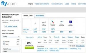 Philadelphia-Dallas: Fly.com Search Results