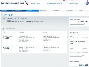Phoenix-San Francisco: American Airlines Booking Page