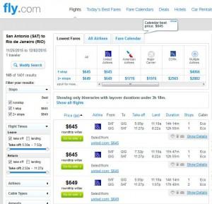 San Antonio-Rio de Janeiro: Fly.com Search Results