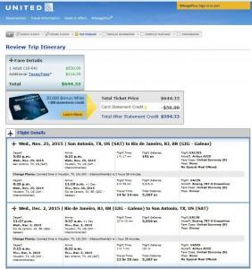 San Antonio-Rio de Janeiro: United Airlines Booking Page