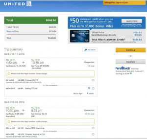 San Antonio-Sao Paulo: United Airlines Booking Page