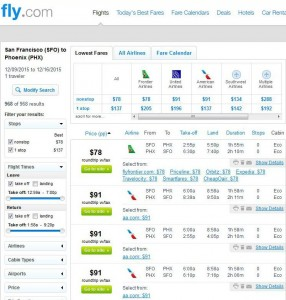 San Francisco-Phoenix: Fly.com Search Results