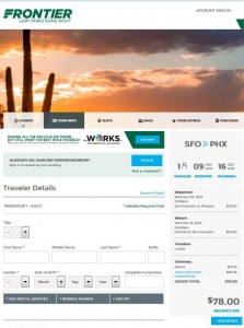 San Francisco-Phoenix: Frontier Airlines Booking Page