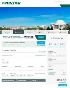 San Francisco to DC: Frontier Booking Page