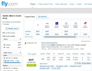Seattle to Austin: Fly.com Results