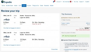 Seattle to Boston: Expedia Booking page