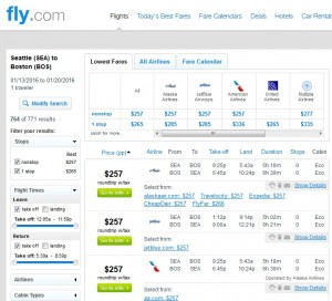 Seattle to Boston: Fly.com Results