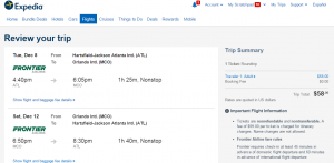 Atlanta to Orlando: Expedia Bokoing Page