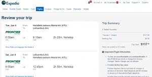 Atlanta to NYC: Expedia Booking Page