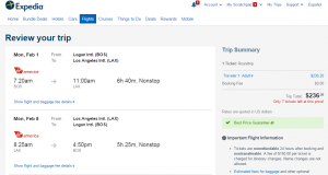 Boston to LA: Expedia Booking Page