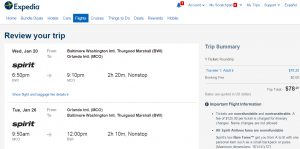 D.C. to Orlando.: Expedia Booking Page