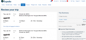 Orlando to D.C.: Expedia Booking Page
