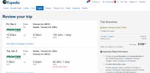 Orlando to Seattle: Expedia Booking Page
