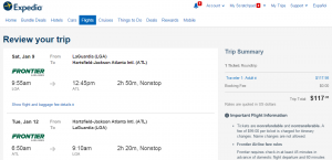 NYC to Atlanta: Expedia Booking Page