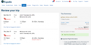 NYC to Vegas: Expedia Booking Page