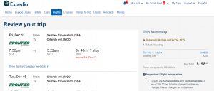 Seattle to Orlando: Expedia Booking Page