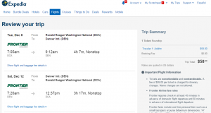 D.C. to Denver: Expedia Booking Page