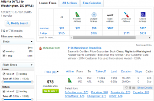 Atlanta to D.C.: Fly.com Results Page