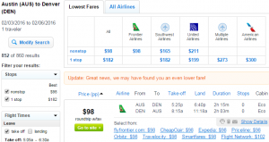 Austin to Denver: Fly.com Results Page