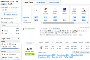 Boston to LA: Fly.com Results Page