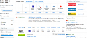 Boston to Nassau: Fly.com Results Page