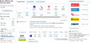 Boston to SF: Fly.com Results Page