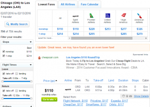 Chicago to LA: Fly.com Results Page