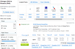 Chicago to Phoenix: Fly.com Results Page