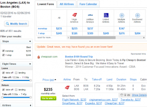 LA to Boston: Fly.com Results Page