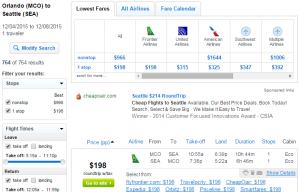 Orlando to Seattle: Fly.com Results Page