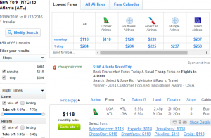 NYC to Atlanta: Fly.com Results Page