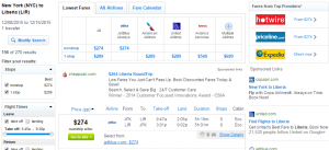 NYC to Liberia: Fly.com Results Page