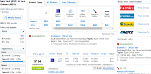 NYC to New Orleans: Fly,com Results Page