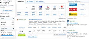 NYC to The Bahamas: Fly.com Results Page