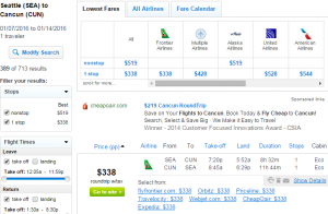 Seattle to Cancun: Fly.com Results Page