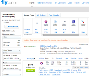 Seattle to Honolulu: Fly.com Results Page