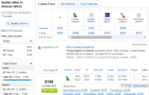 Seattle to Orlando: Fly.com Results Page