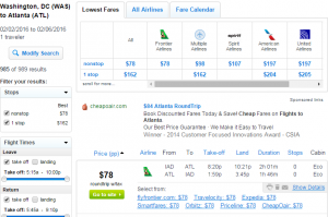 D.C. to Atlanta: Fly.com Results Page